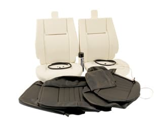 RETRIM KIT IN MATCHING BLACK LEATHER FOR TWO FRONT SEATS. DEFENDER 1984-2006