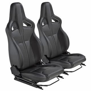 Elite Sports Seats - Black Leather w/ White Stitching