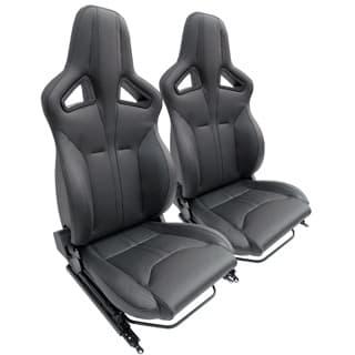 Elite Sports Seats - Black Leather w/ Black Stitching