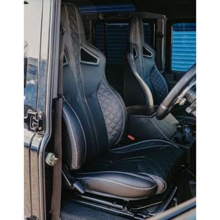 Elite Sports Seats - Diamond Xs Black Leather w/ White Stitching
