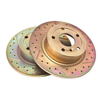 Brake Disc Set Rear Pair, P38a & Discovery II, Slotted Drilled