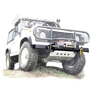 WINCH BUMPER GALVANIZED AND POWDER COATED DEFENDER FOR SUPERWINCH HUSKY.