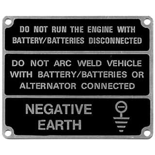 Warning Label Neg Earth