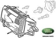 Headlamp Assembly RH P38a Range Rover From Vin Ya427112