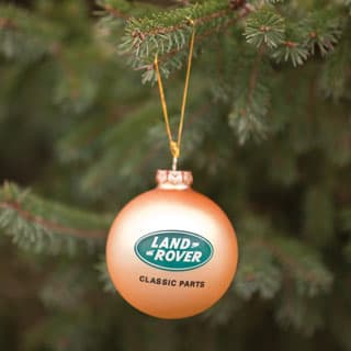 GLASS ORNAMENT w/LAND ROVER CLASSIC PARTS LOGO OLYMPIC GOLD