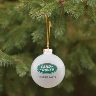 GLASS ORNAMENT w/LAND ROVER CLASSIC PARTS LOGO STERLING SILVER