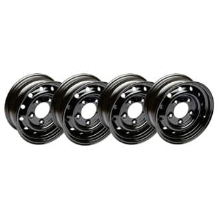 ROAD WHEEL STEEL GLOSS BLACK HEAVY DUTY VENTED WOLF STYLE SET OF 4