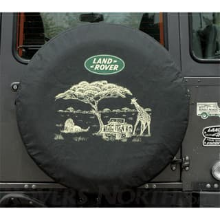 TIRE COVER, SAFARI w LAND ROVER LOGO, LARGE