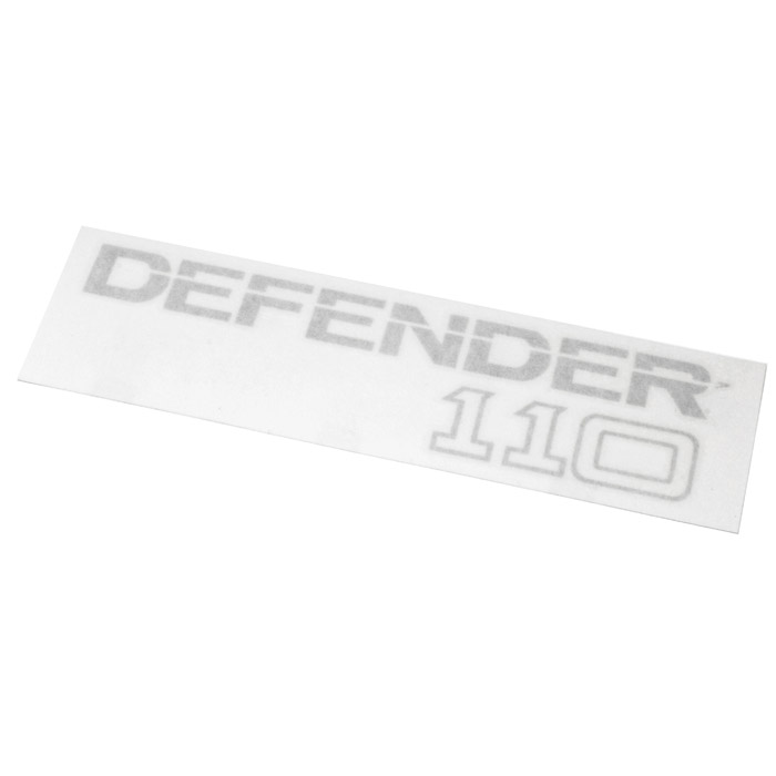 "DECAL ""DEFENDER 110"" REAR SILVER"