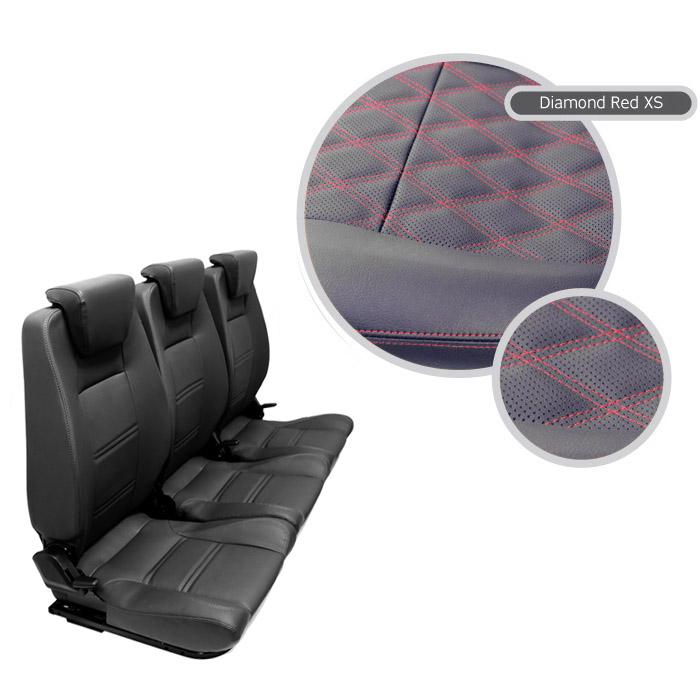 PREMIUM HIGH BACK 2ND ROW FULL SEAT SET - BLACK VINYL DIAMOND RED XS