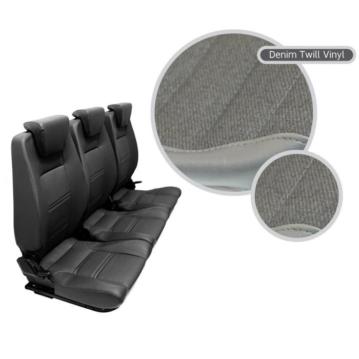 PREMIUM HIGH BACK 2ND ROW SEAT - FULL SEAT SET - DENIM TWILL