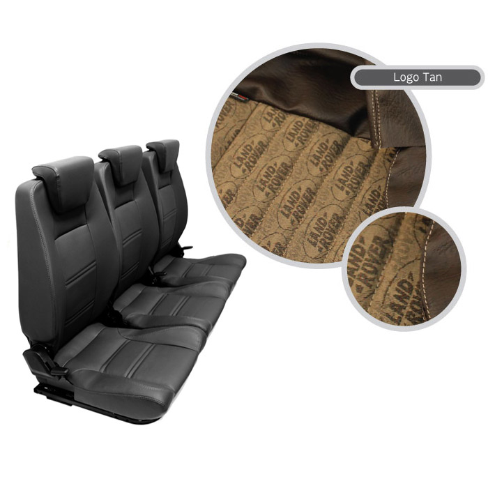 PREMIUM HIGH BACK 2ND ROW SEAT - FULL SEAT SET - LAND ROVER LOGO BROWN