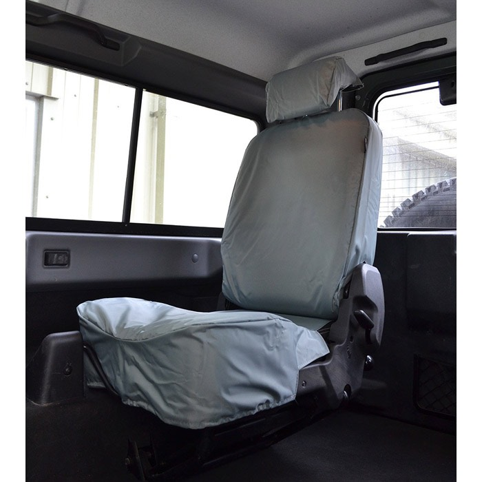 WATERPROOF SEAT COVERS (PAIR) FOR TD4 PUMA REAR TUMBLE DOWN SEATS (GREY)