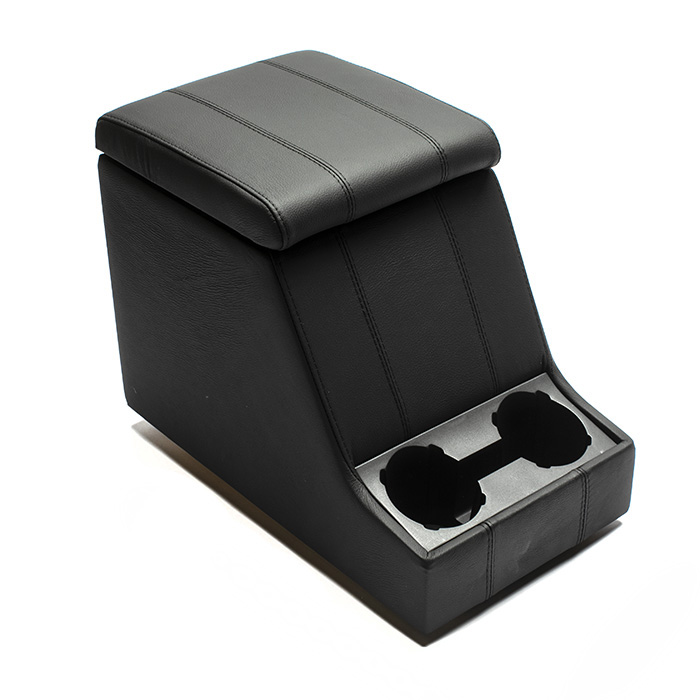 PREMIUM XL CUBBY BOX - DEFENDER AND SERIES - BLACK LEATHER W/ BLACK STITCHING