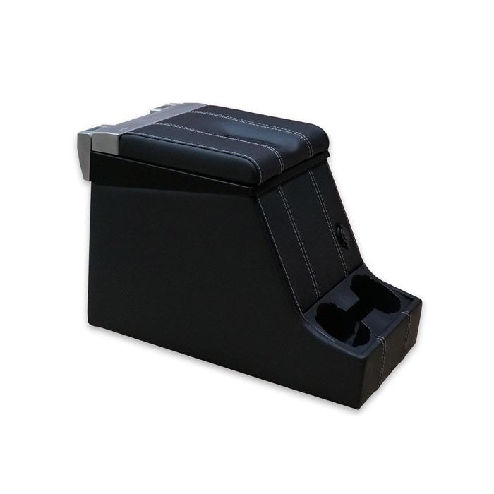 PREMIUM LOCKING LOC CUBBY BOX - DEFENDER AND SERIES - BLACK LEATHER W/ WHITE STITCH