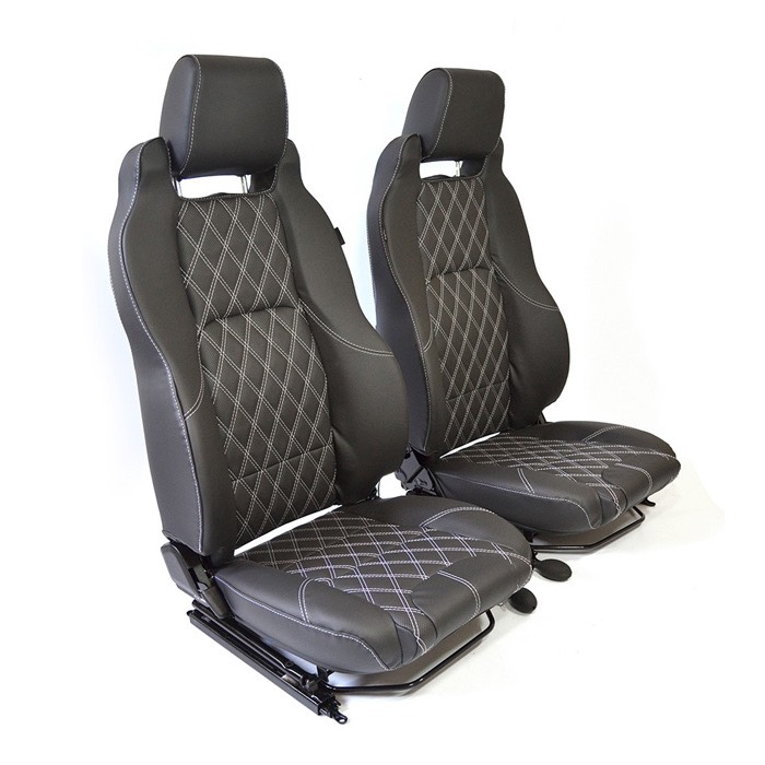 EXMOOR TRIM MK-II ELITE SEATS (PAIR) WITH HEATERS AND LUMBAR SUPPORTS FOR DEFENDER - DIAMOND WHITE XS VINYL