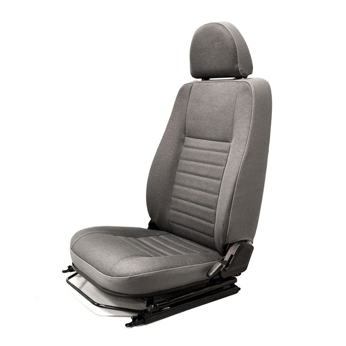 FRONT PUMA SEAT ASSEMBLY WITH ADJUSTABLE FRAME, LEFT HAND - TWILL VINYL