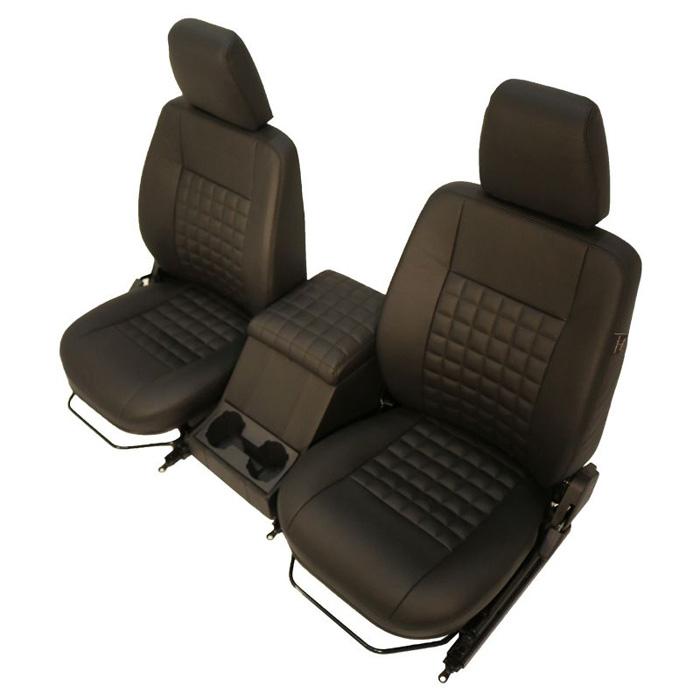 COOL-N-VINTAGE FRONT SEAT PAIR W/CUBBY DEFENDER BLACK LEATHER