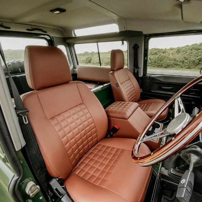 COOL-N-VINTAGE FRONT SEAT PAIR W/CUBBY DEFENDER CHESTNUT LEATHER