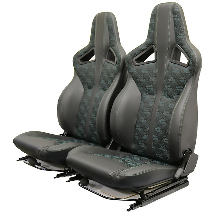 EXMOOR TRIM ELITE SPORTS SEATS (PAIR) WITH HEATERS AND LUMBAR SUPPORTS FOR DEFENDER - LAND ROVER LOGO BLACK w/GREEN STITCHING