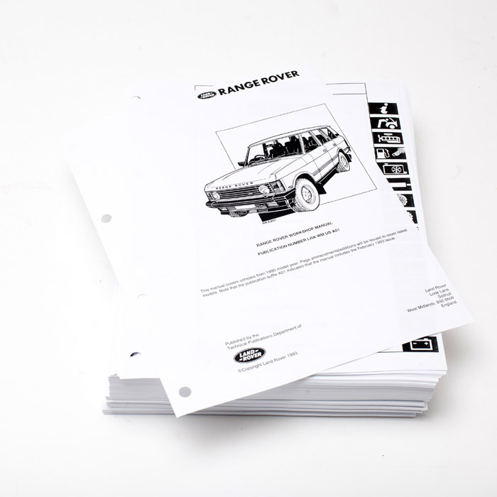 REPRODUCTION  WORKSHOP MANUAL INSERT 1990-1994 RANGE ROVER CLASSIC
