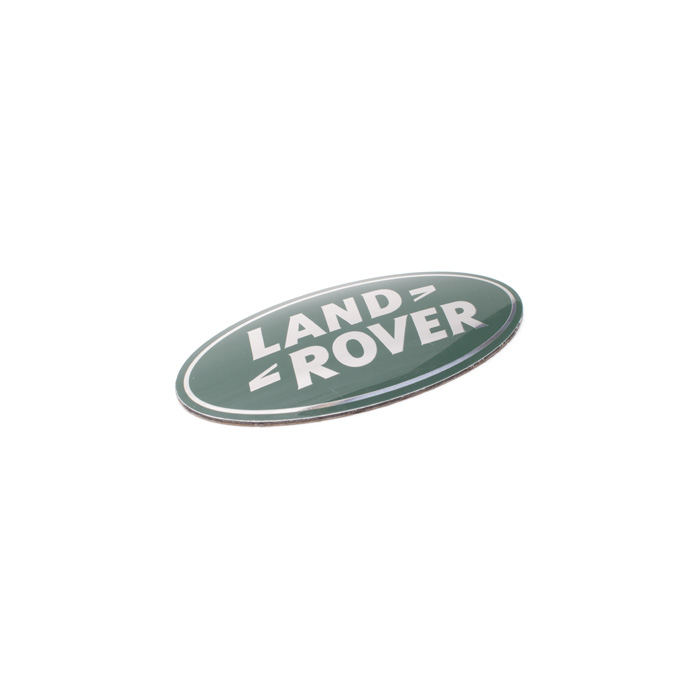 "BADGE ""LAND ROVER"" SILVER & GREEN FRONT"