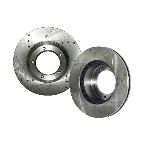 BRAKE DISC SET, REAR PAIR, SLOTTED DRILLED, D90, RRC & DISCO I