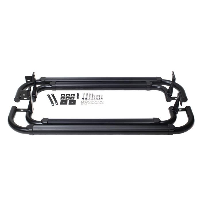Deployed Side Steps For Range Rover Genuine Accessory: TUBULAR SIDESTEP SIDE RUNNER PAIR DEFENDER 90 BLACK