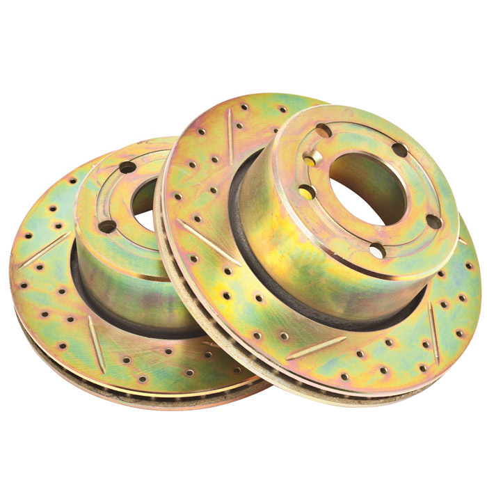 BRAKE DISC SET FRONT PAIR, DISCOVERY II, SLOTTED DRILLED