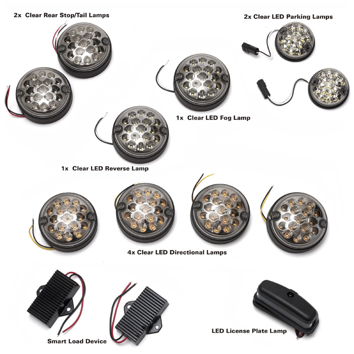 LED CLEAR LAMP KIT DEFENDER WITH REAR FOG GUARD