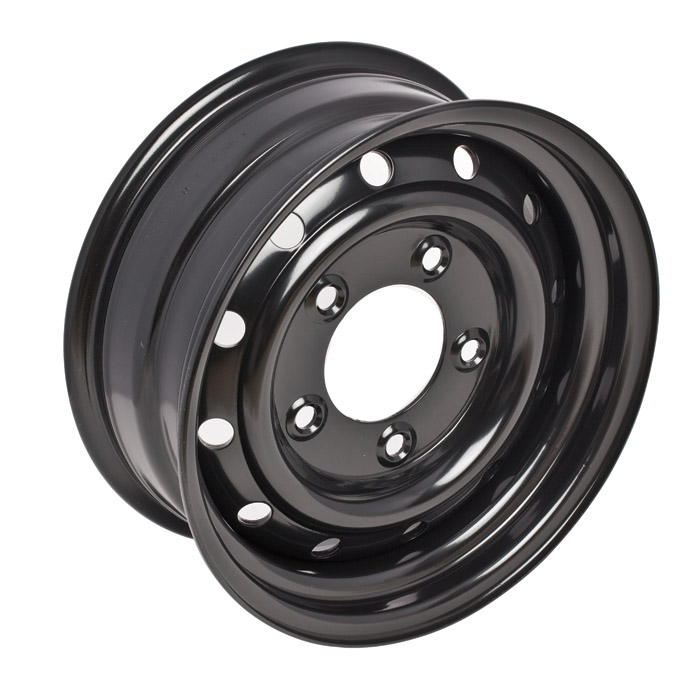 "HEAVY DUTY 16"" VENTED STEEL WHEEL IN BLACK"