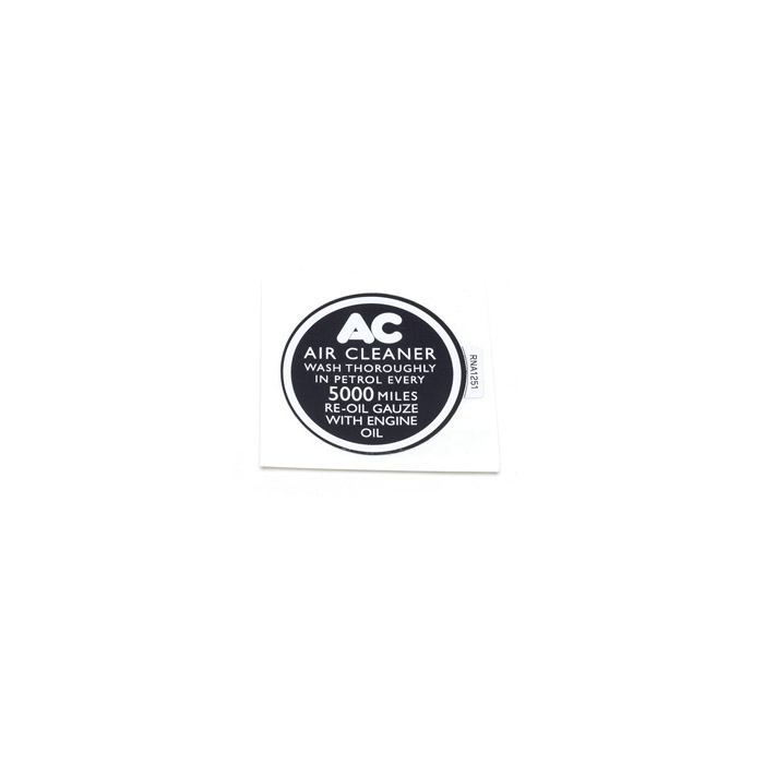 """DECAL AIR CLEANER """"WASH THOROUGHLY..."""""""