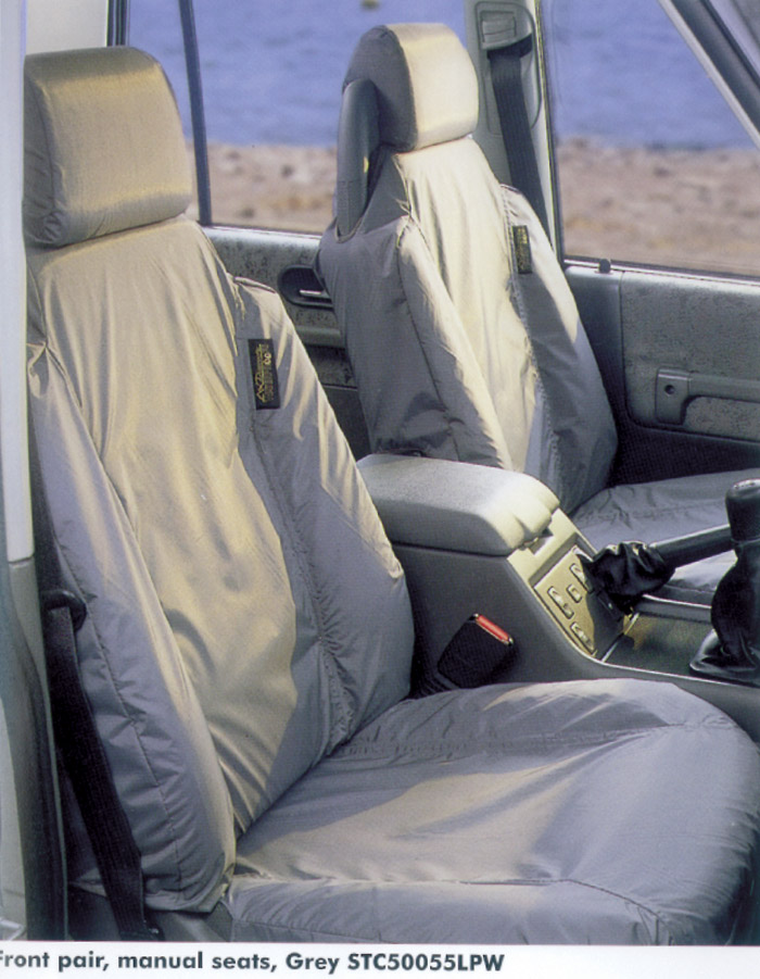 SEAT COVER SET - FRONT PR DISCOVERY II GREY FOR NON-ELECTRIC SEATS