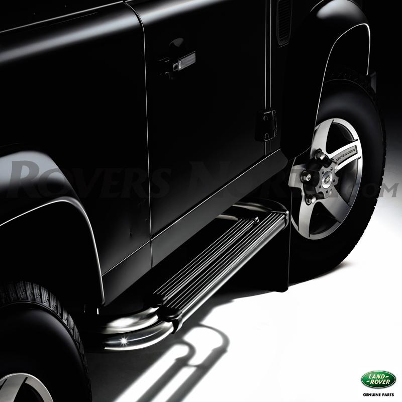 Deployed Side Steps For Range Rover Genuine Accessory: TUBULAR SIDESTEP PAIR D90 BLACK, RNB066, VPLDP0068