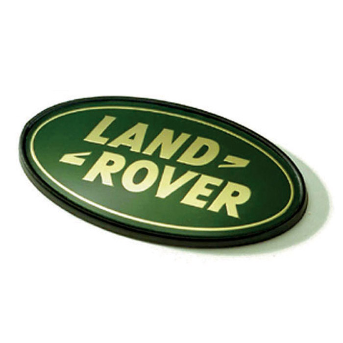 LAND ROVER MOLDED 3D PLASTIC BADGE GREEN and GOLD