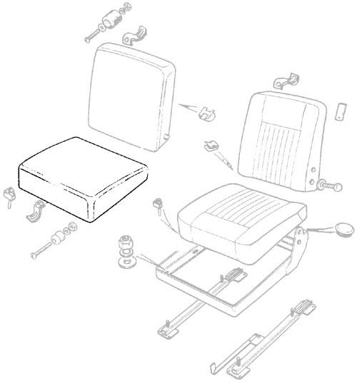 FLAT SEAT CUSHIONS IN BLACK VINYL, BOTTOM, CENTER - SERIES IIA & III