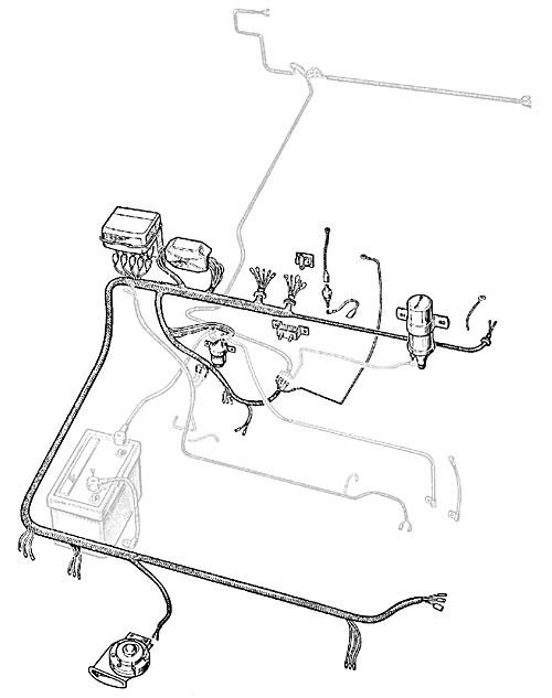 WIRE HARNESS EARLY SERIES IIA INCLUDES ENGINE/DYNAMO HARNESS 1961-65