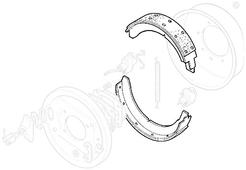 Parking Brake Shoes, Range Rover Classic, Early Defender and Discovery I
