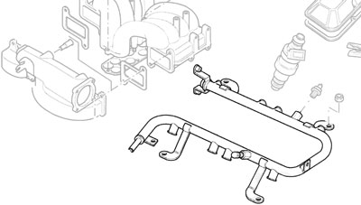 AIR RAIL ASSEMBLY - FUEL INJECTION P38A & DISCOVERY II