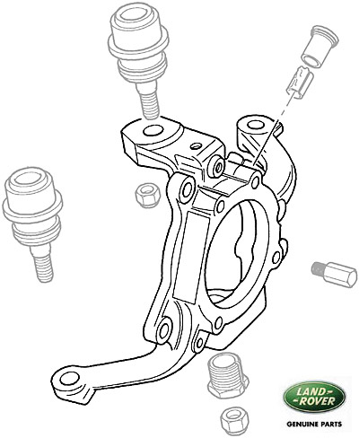 FRONT AXLE STEERING KNUCKLE, SWIVEL ABS HUB LH, R/R P38A