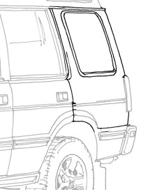 PANEL  BODY SIDE REAR LH  DISCOVERY I  '95 - '99