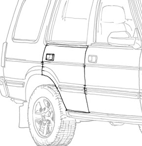 REAR SIDE DOOR ASSM  RH   DISCOVERY I  '94 & '95