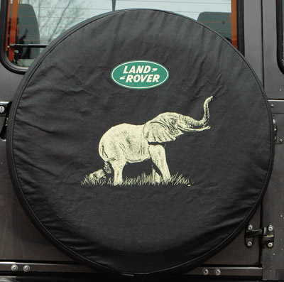 TIRE COVER, ELEPHANT w LAND ROVER LOGO, LARGE