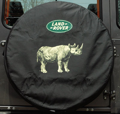 TIRE COVER, RHINO w LAND ROVER LOGO, LARGE