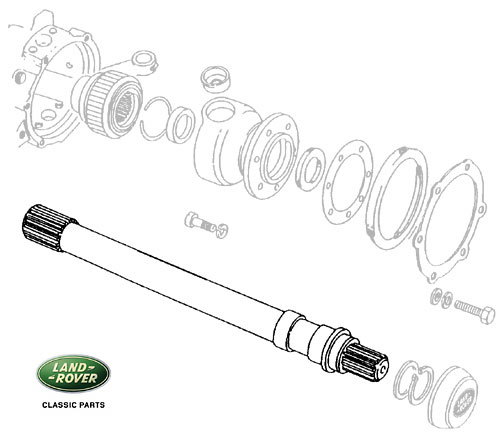 AXLE SHAFT - LH FRONT R/R CLC, DISCO I & DEFNDR